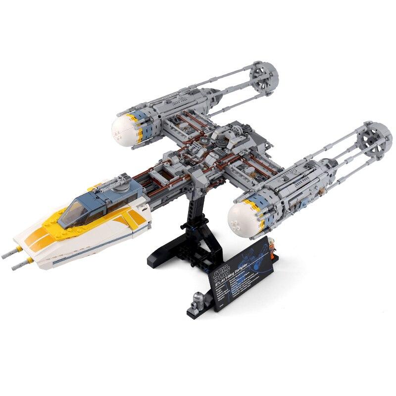 05143 Star plan series 75181 Y   wing Starfighter ชุดอาคารบล็อกอิฐของเล่นสำหรับของขวัญเด็ก-ใน บล็อก จาก ของเล่นและงานอดิเรก บน   1