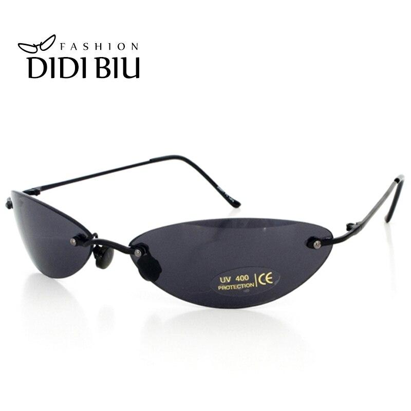 DIDI Mini Rimless Sunglasses Men Classic Matrix Morpheus Oval Glasses Women Steampunk Movie Eyewear Ultra-light Thin Frame U808