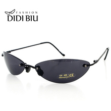 DIDI Mini Rimless Sunglasses Men Classic Matrix Morpheus Oval Glasses