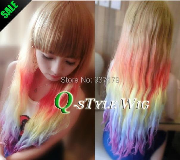 Blonde Pastel Color Highlights Wig Fairy Princess Wig Long Kinky