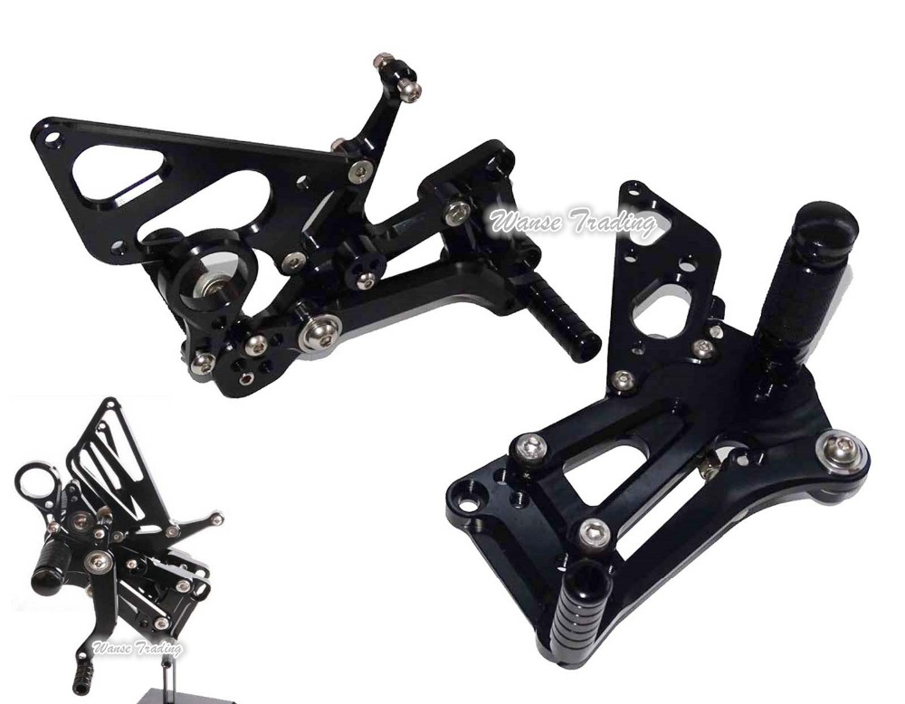 waaseCNC Adjustable Rider Rear Sets Rearset Footrest Foot Rest Pegs Black For 2009 2010 2011 2012 2013 2014 BMW S1000RR K46 car rear trunk security shield shade cargo cover for hyundai tucson 2006 2007 2008 2009 2010 2011 2012 2013 2014 black beige