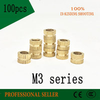 100pcs M3*4*3/4/5/6/8/10 mm OD 4mm brass copper insert mut embedded copper knurled nut Injection molding machine nut