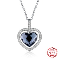 S925 Sterling Silver Crystal From Swarovsk Elements Heart Shaped Sterling Silver Necklace Heart Of The Sea Wedding Jewelry Gift