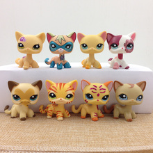 цены Original Mini Pet Shop PS Collection Toy Short Hair Cat Standing Real Rare Figure Toys Kitty Great Gift for Kids Child Girls
