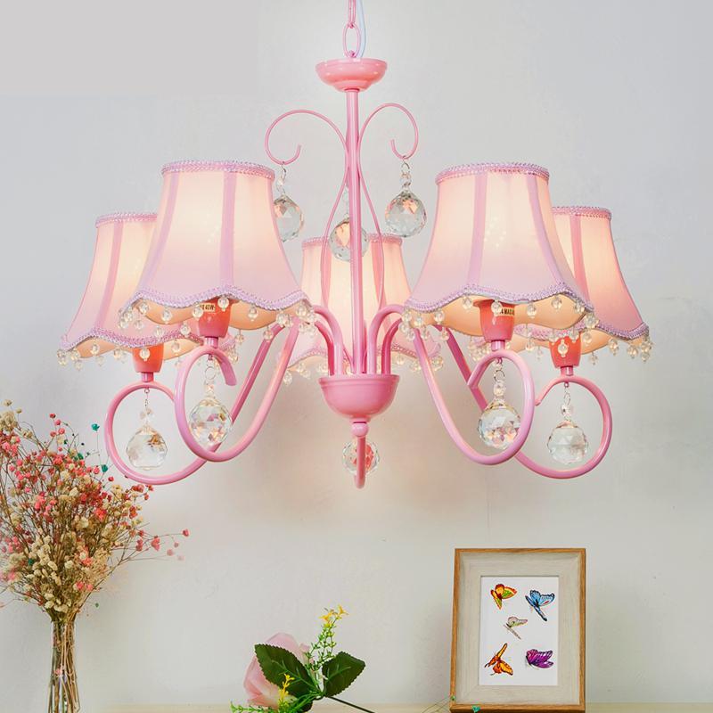 Kid's Pink Chandelier Lighting for bedroom princess hanging lamp pastoral bedroom children room crystal chandeliers lustre light