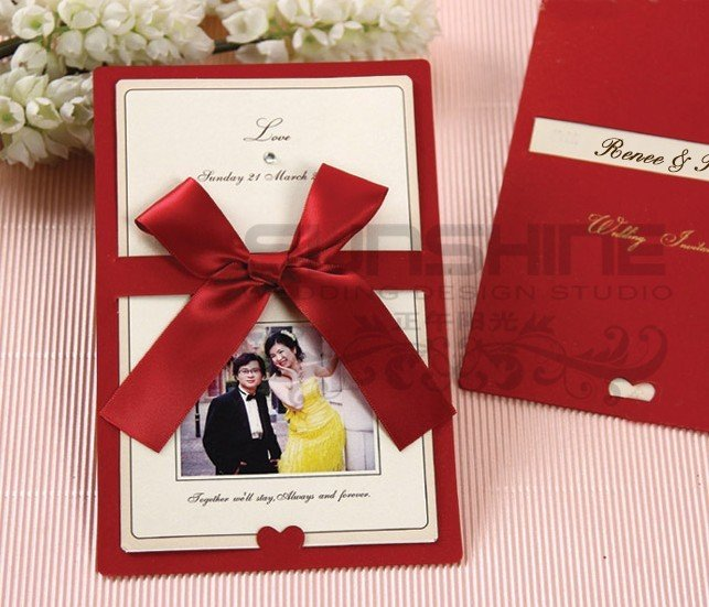 Invitation Card Wedding Cards Cm A2 Red Color With Ribbon