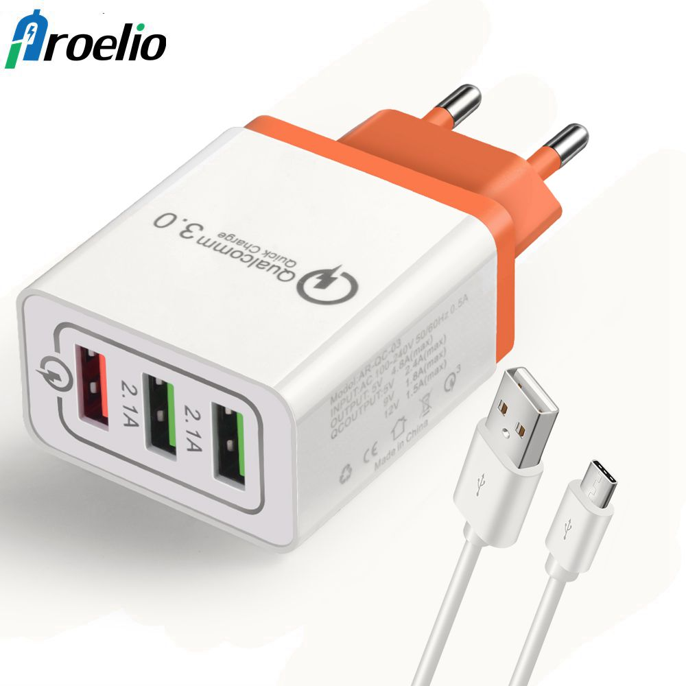 Proelio USB Wall Charger Portable Quick Charge 3.0 USB Charger For iPhone 7 Plus 6 6s Plus Samsung S8 Xiaomi USB Type C Cable