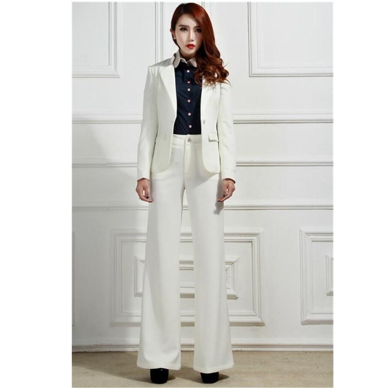 Costumes Et 2 Pantalon Dames Formelle pièce Nouveau Femmes Costume Élégant Ol Ensemble Deux Veste Pièce Blanc Bussiness Bureau 5AUwxwz