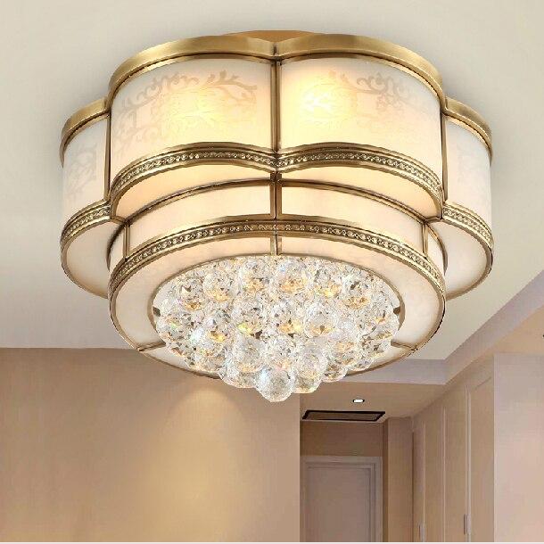 LED américain 100% cuivre cristal plafonniers luminaire classique maison éclairage intérieur chambre lit Foyer salle à manger plafonniers