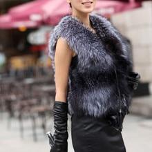 Осенне-зимний жилет из меха серебристой лисы, верхняя одежда для женщин с лисьими головками размера плюс S-XXXL, меховой жилет