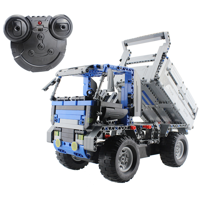 2.4g montado blocos de construção de controle remoto caminhão do rc veículos diy 3d puzzle brinquedo educativo de construção