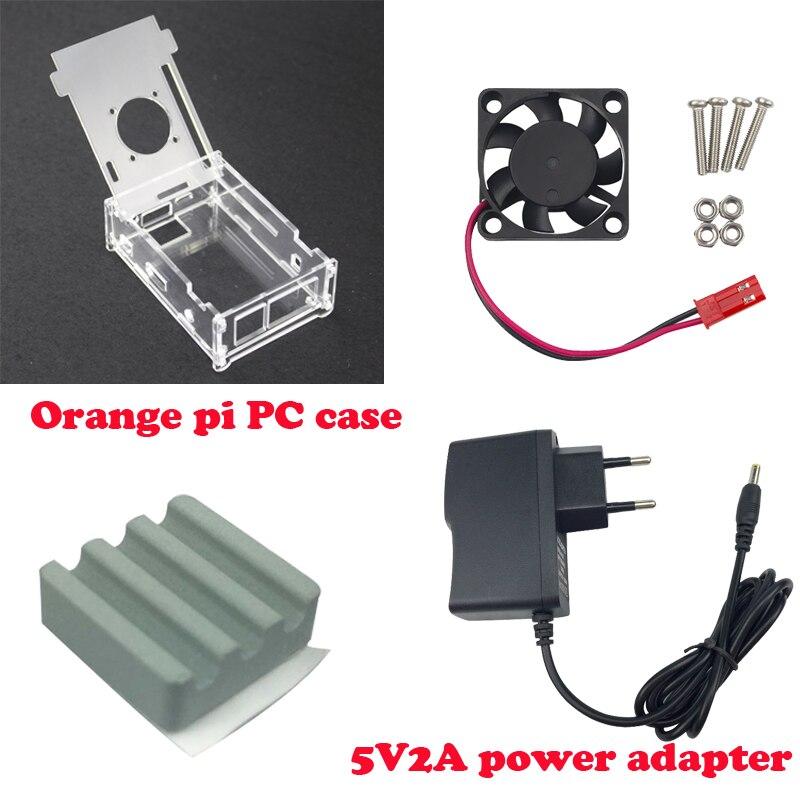 Hot Sale Transparent Acrylic Case For Orange Pi PC+Ceramic Heat Sink+cooling  Fan+DC 5V2A Power Charger For Orange Pi PC Plus