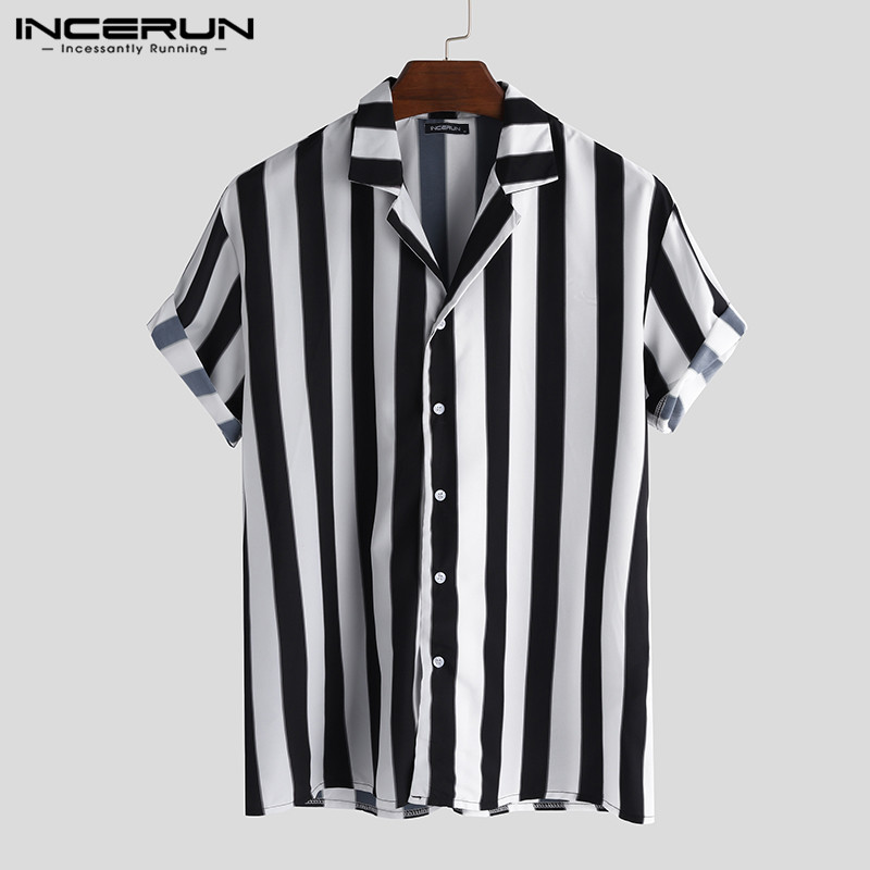INCERUN Men Casual Shirt Striped Short Sleeve Button Loose Chic Lapel Neck Blouse Brand Shirts Streetwear Vacation Camisa 2020