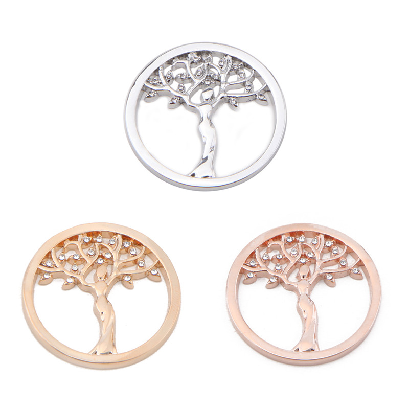 Somsoar Jewelry 33mm Coin Tree Of Life Clear Crystal Disc Coin For Deluxe My Coin Jewelry Frame Pendant 10pcs/lot