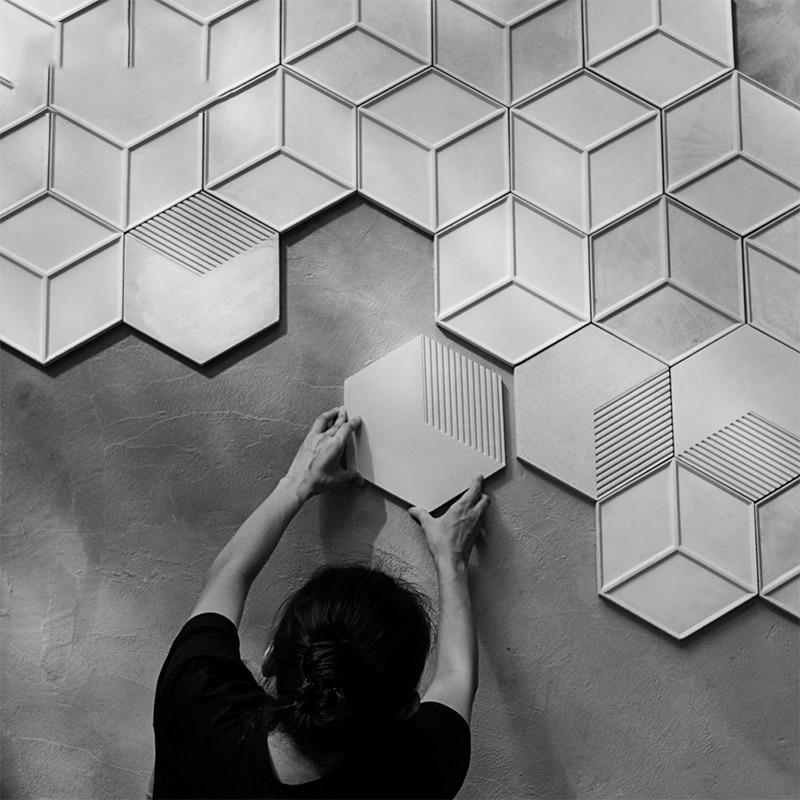 Tanie Hexagon Silikonowe Formy 3d Dekoracyjne Panele ścienne