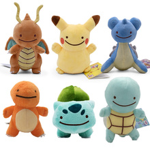 6 Styles Cute Cartoon Pikachu Charmander Squirtle Bulbasaur Lapras Dragonite Stuffed Plush Soft Animal Doll Baby Toy For Kids