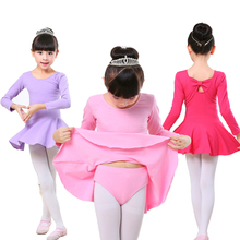 Free shipping Children's dance split ballet dress cotton exercises long and short sleeves dancing bow ties dance leotard dress