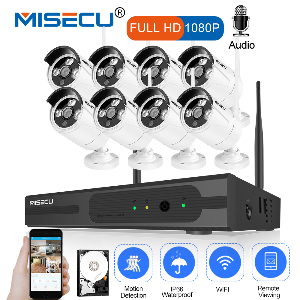 MISECU 8CH Sistema CCTV Wireless 1080 p HD NVR 8 pz 2.0MP Wifi Telecamera di Sicurezza Audio IR Esterna Impermeabile P2P kit di sorveglianza