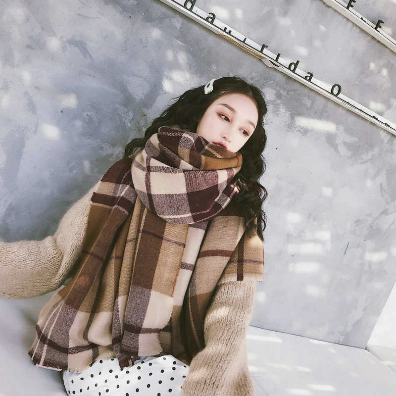 new comfortable wild thick soft plaid big lady scarf warm couple temperament long fresh simple scarf high quality knit shawl