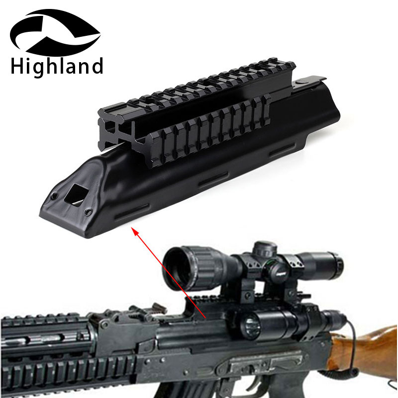 Hunting AK47 Top Receiver Cover Scope Mount Base Dust Cover with Picatinney Top Rail MNT-<font><b>970A</b></font> See Through AK Rail image