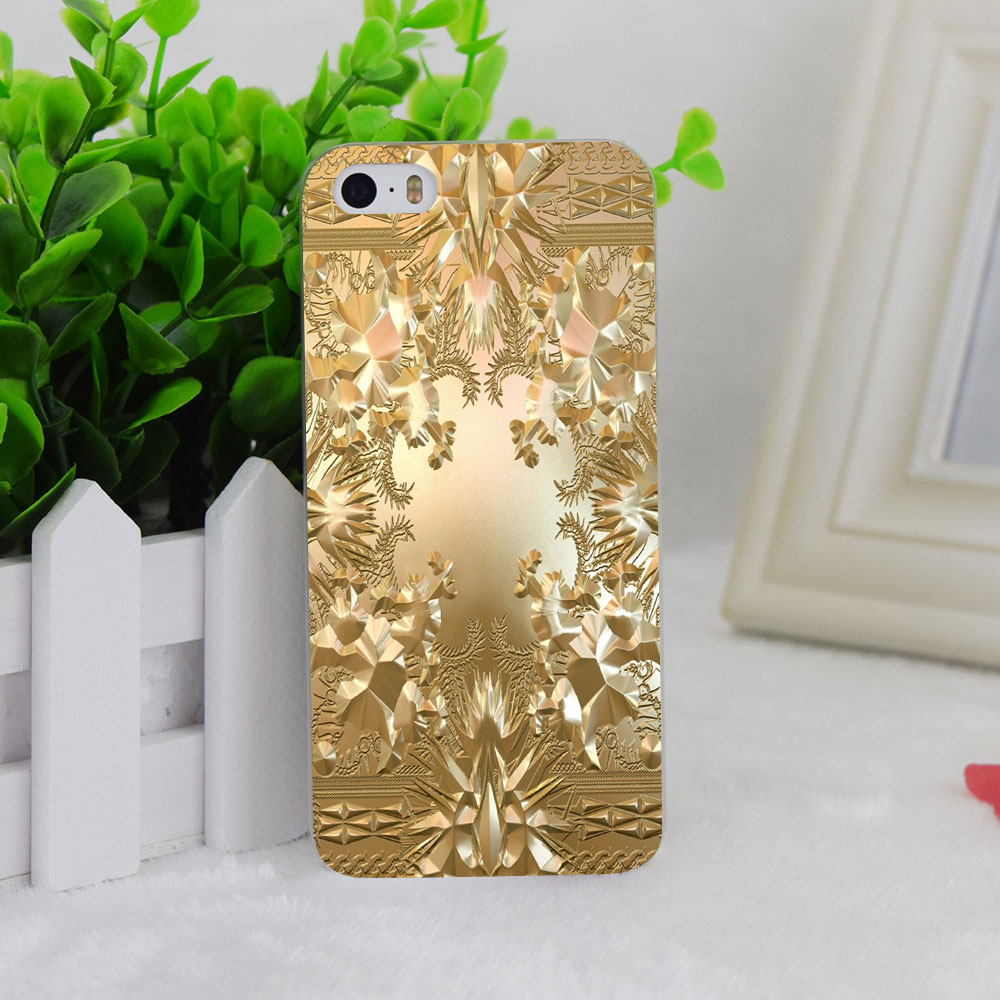 A1444 New Kanye West Jay Z Gold Album Style Transparent Hard Thin Case Cover For Apple iPhone 4 4S 5 5S SE 5C 6 6S 6Plus 6s Plus
