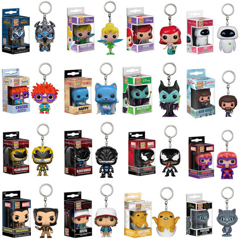 Funko pop pocket keychain Pikachu Alice IT Cheshire cat Mermaid ARIEL Harry Potter Venom action figure toys for children