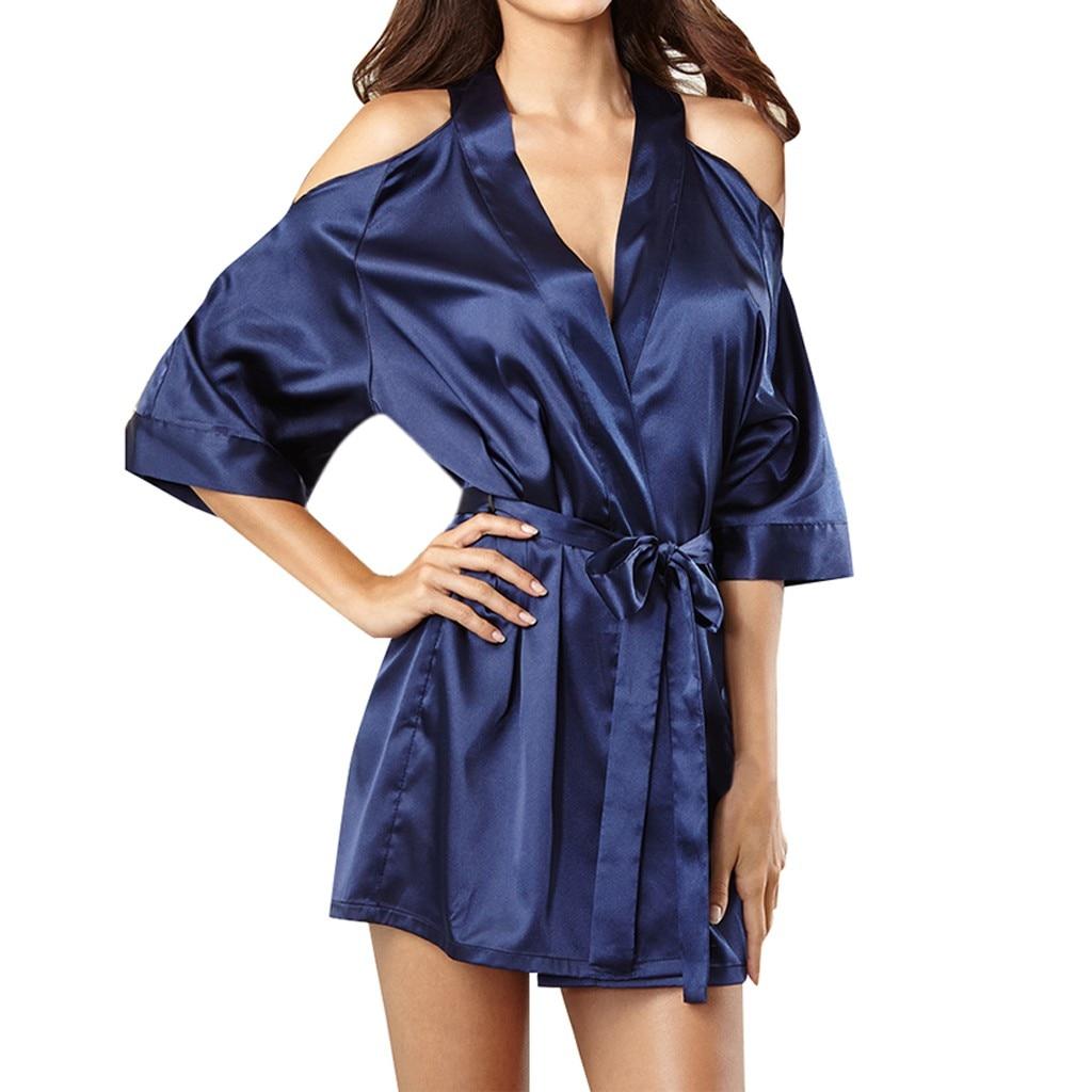 Sleep Wear Sexy Satin Ladies Pajama Lingerie Nightdress Sleepwear Women's Sleep & Lounge 18DEC18