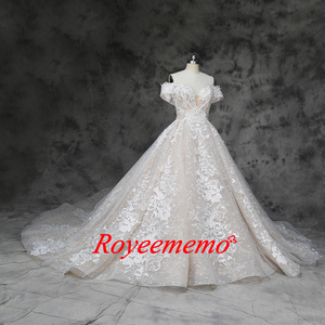 Image 2 - new luxury lace design wedding dress off the shoulder short sleeve wedding gown factory custom made wholesale price bridal dress
