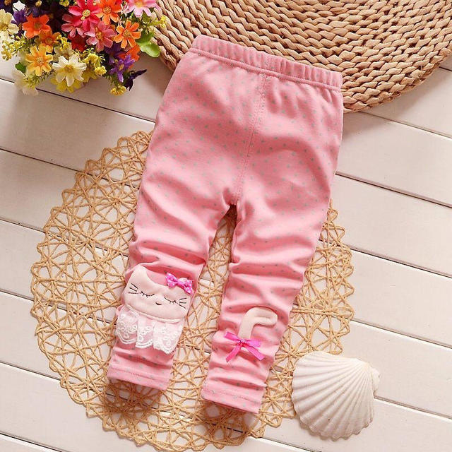 BibiCola New Spring Girls Leggings Children Autumn Pants Toodler Girls Cotton Pants Infant Casual Pants Kids Cartoon Trousers