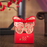 Red Chinese Double Happiness Laser Cut Butterfly Wedding  Candy Boxes Elegant Party Bride Favors Gifts Bags with Ribbon CB7022