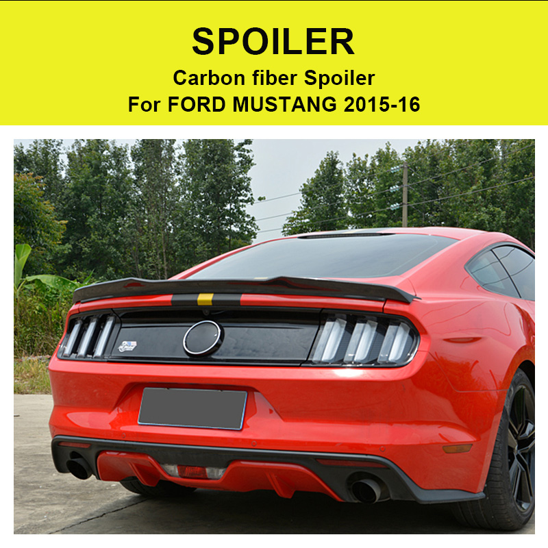 For Ford Mustang Coupe A Style Rear Spoiler High quality Carbon Fiber Rear Frunk Spoiler Wing Lip car styling Auto Part 2015 16 in Spoilers Wings from Automobiles Motorcycles