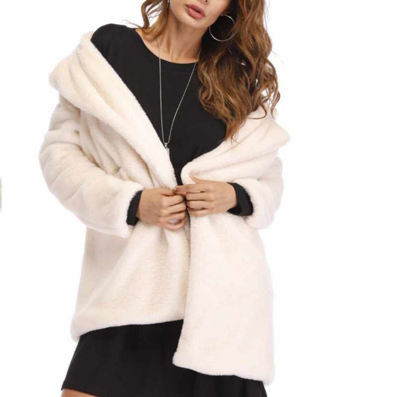 ffd42f1985f ... Faux Fur Coat Women Long Sleeve Thick Warm Flurry Jackets Plus Size  Coat Winter Black Yellow ...