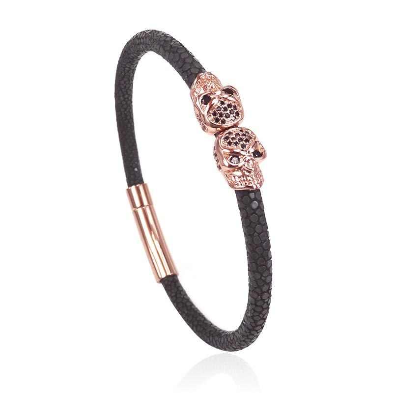 Northskull ze stali nierdzewnej typu Twin czaszka bransoletki prawdziwej skóry Stingray bransoletka pasuje do mężczyzna kobiet luksusowe akcesoria do zegarków