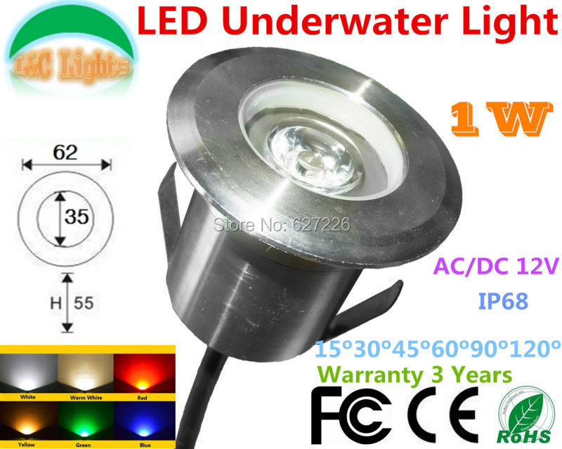 4PCs/Lot 1W LED Underwater Lights AC/DC 12V IP68 Waterproof LED Underground Lamps Outdoor Landscape Swimming Pool Lamps CE RoHS