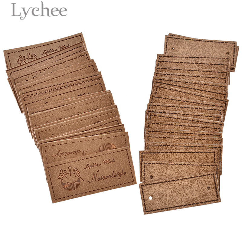 Lychee 20pcs Vintage Natural Style Square PU Leather Labels Blank Embossed Tags For Garment Bags DIY Sewing Accessories