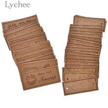 Lychee, 20 шт, винтажный натуральный стиль, квадратный ярлык из искусственной кожи, пустые ярлыки с тиснением для сумок для одежды, аксессуары для шитья