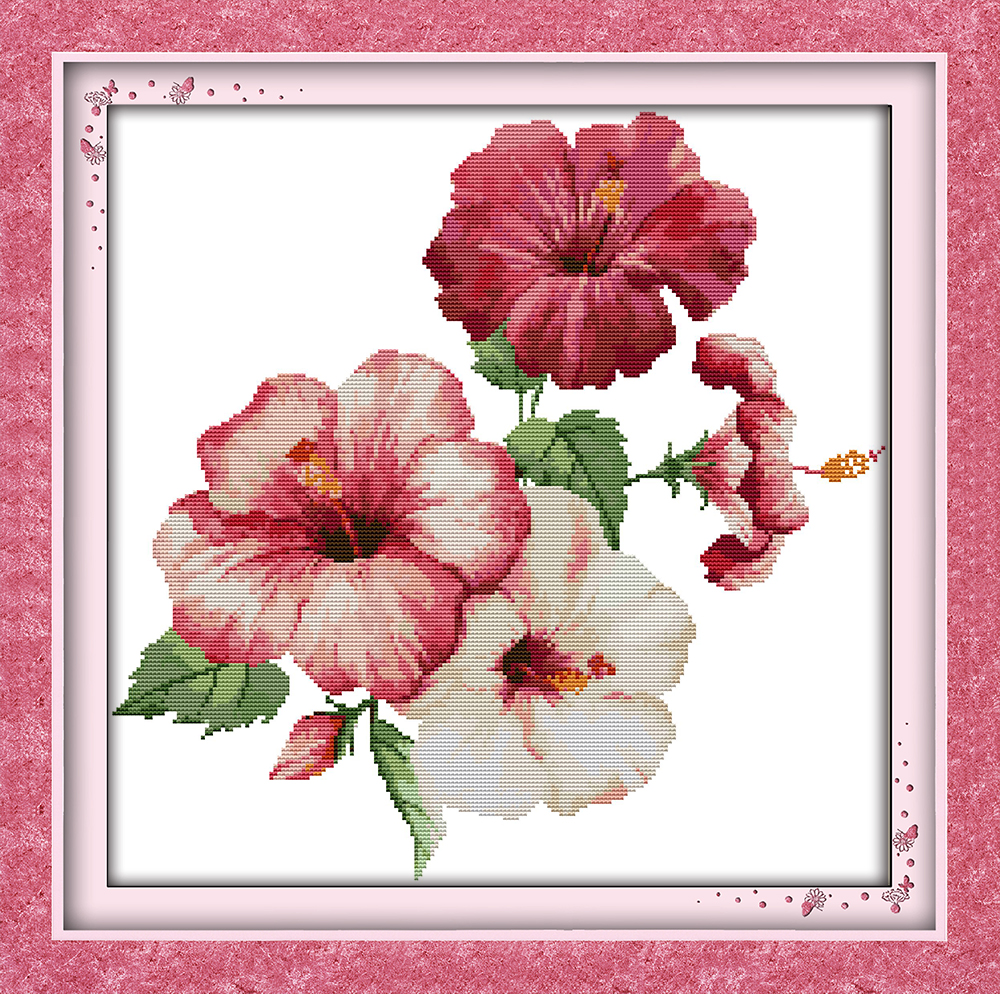 The Hibiscus Flowers Cross Stitch Kit 14ct 11ct Count Print Canvas