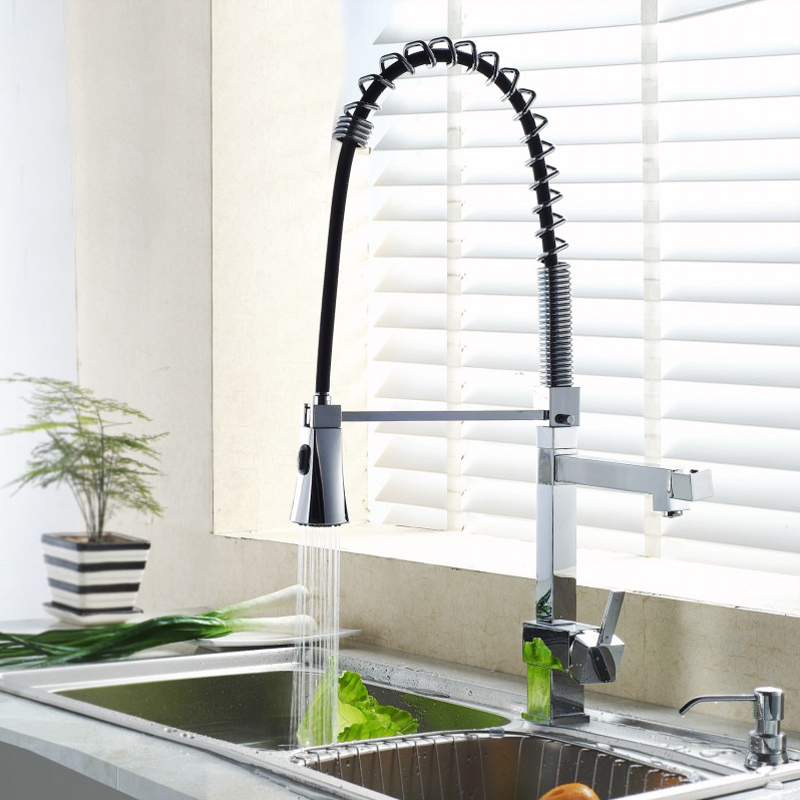 Deck Mount Spring pull out Brass Kitchen Faucet hot and cold Chrome pull down Spray Water