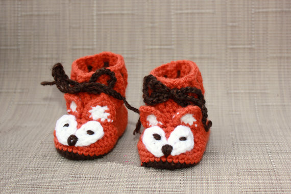 Fox Baby Booties   Crochet Baby -  Unisex Baby Shower Gif