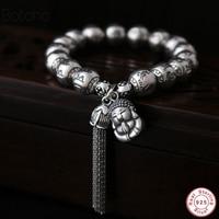 925 Sterling Silver Tibetan Buddhism Bracelet For Men And Women Six Words Mantras OM MANI PADME HUM Antiqued Metal Amulets Beads