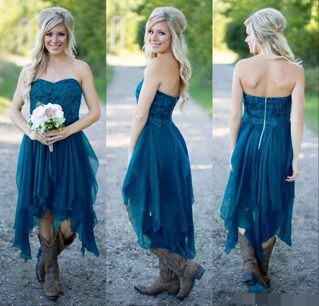 a7c3be259f ... Dama Honra Vestido vestido madrinha. Bridesmaid Dresses 2019 Cheap  Wedding Party Teal Chiffon Beach Lace High Low Ruffles Party Maid Honor