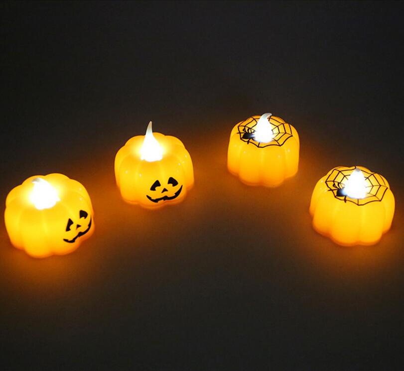 Electronic Halloween Decorations: Free Shipping 72pcs/box Halloween LED Pumpkin Spiderweb