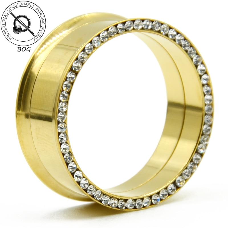 Initiative Hohe Qualität Gold Edelstahl Innengewinde Ohr Tunnel Plugs Messer Expander Bahre Piercing Ohrring Body Schmuck Dinge Bequem Machen FüR Kunden Schuhe