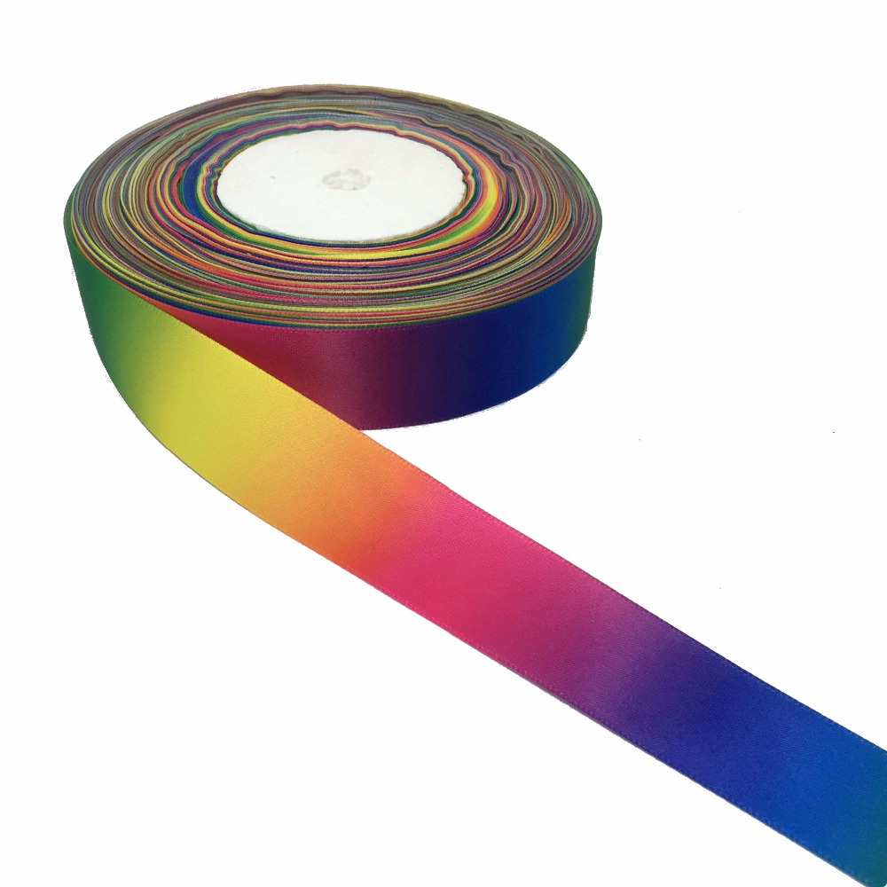 "ZERZEEMOOY 1"" 25MM 50YARD Rainbow ribbon high quality printed polyester Satin ribbon DIY handmade materials wedding gift wrap"