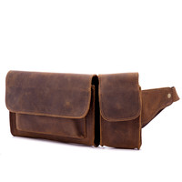 Waist Pack Men Genuine Leather Outdoor Vintage Multi function Men's Small Pockets Cow Leather Mobile Phone Bag