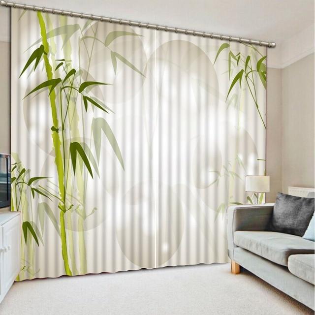 € 109.25 49% de réduction Beaux rideaux 3D occultants de modèle de bambou  pour des rideaux de salon de chambre à coucher acceptent la  personnalisation ...