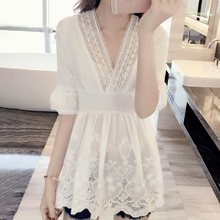 Summer Vintage Lace Blouse Elegant Sweet Korean White Shirt Sexy Chic Slim Flare Sleeve Tops Office Ladies Female Fashion Shirts