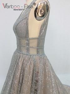 Image 5 - VARBOO_ELSA 2018 Silver Sparkly Long Evening Dress Sexy Double Deep V Neck Prom Dress Elegant Long Train Backless robe de soiree