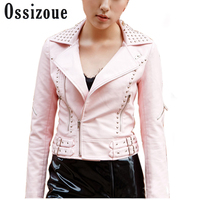 Black Pink Punk Jacket Female Beading Motorcycle Jackets Rivet Studded Spiked Faux Leather Plus Size Black