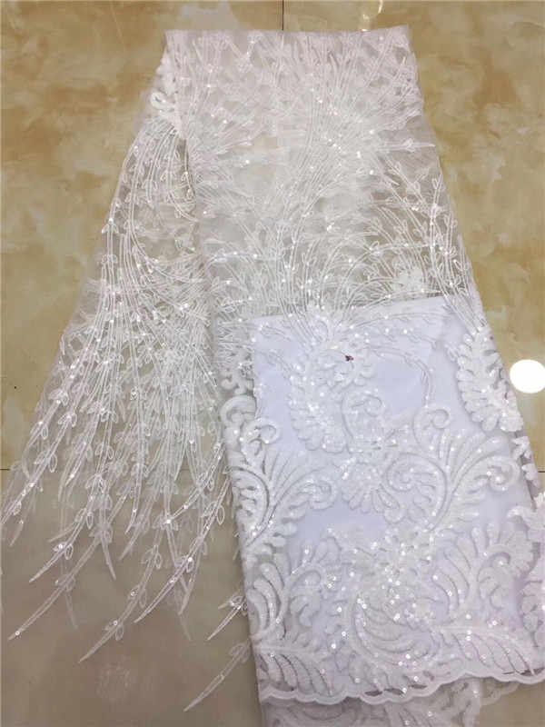 2019 high quality French Nigerian sequins net lace,African tulle mesh sequence lace fabric for party dress 5yards/lot white